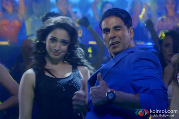 Tamannaah and Akshay Kumar in a still from movie 'Entertainment'