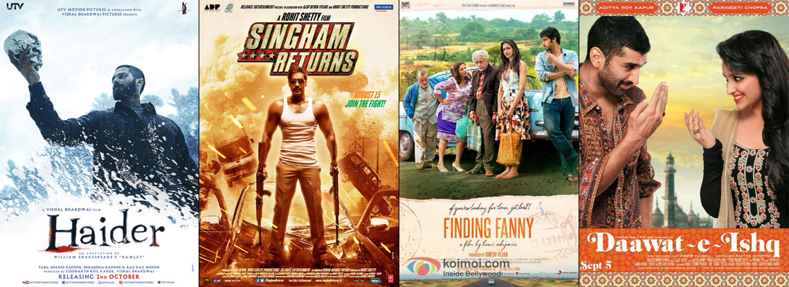 Haider, Singham Returns, Finding Fanny and Dawaat-E-Ishq Movie Poster