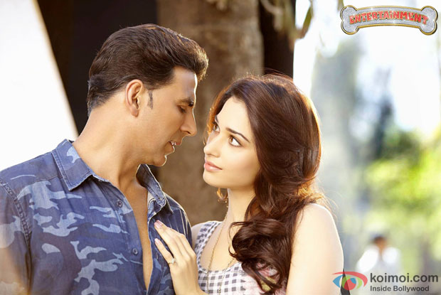 Akshay Kumar and Tamannaah in a still from movie Entertainment
