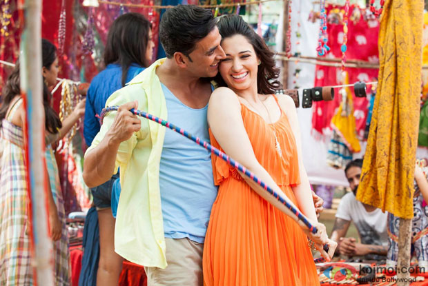 Akshay Kumar and Tamannaah in a still from movie 'Entertainment'