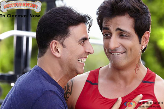 Akshay Kumar and Sonu Sood in a still from movie 'Entertainment'