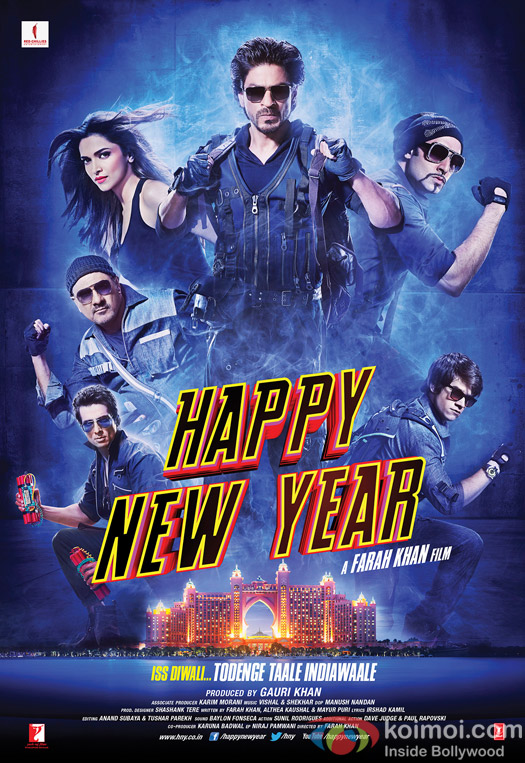 Shah Rukh Khan, Abhishek Bachchan, Boman Irani, Sonu Sood, Deepika Padukone and Vivaan Shah in a 'Happy New Year' Movie Poster