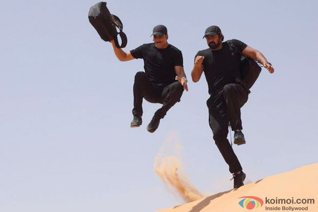 Akshay Kumar & Rana Daggubati in a still from movie 'Baby'