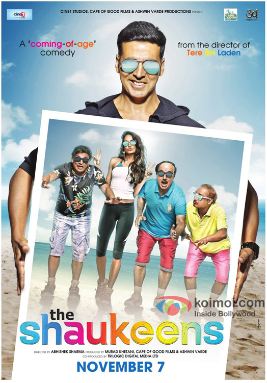 Akshay Kumar and Lisa Haydon in a 'The Shaukeens' movie poster