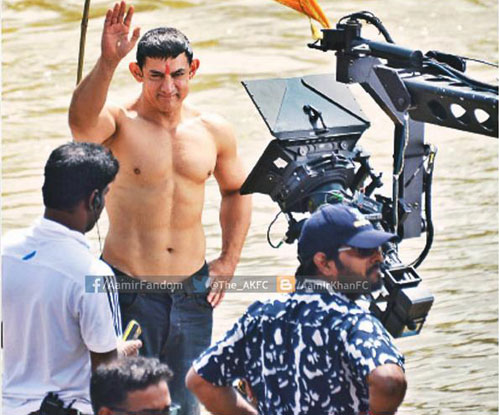 Aamir Khan on the sets of movie 'PK'