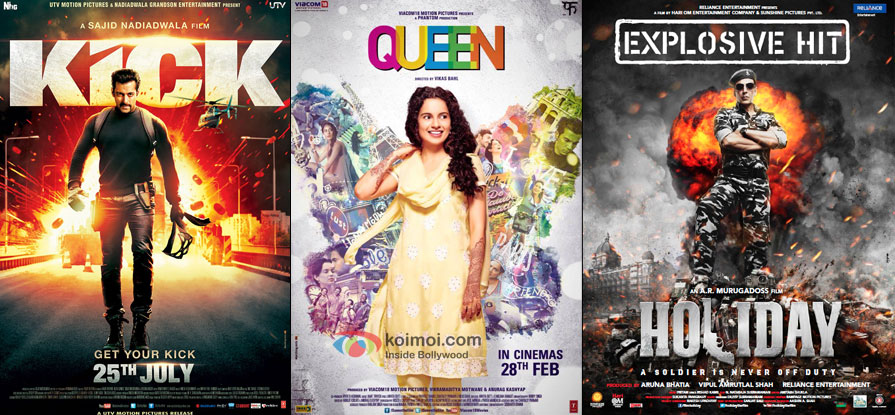 Kick, Queen and Holiday movie posters