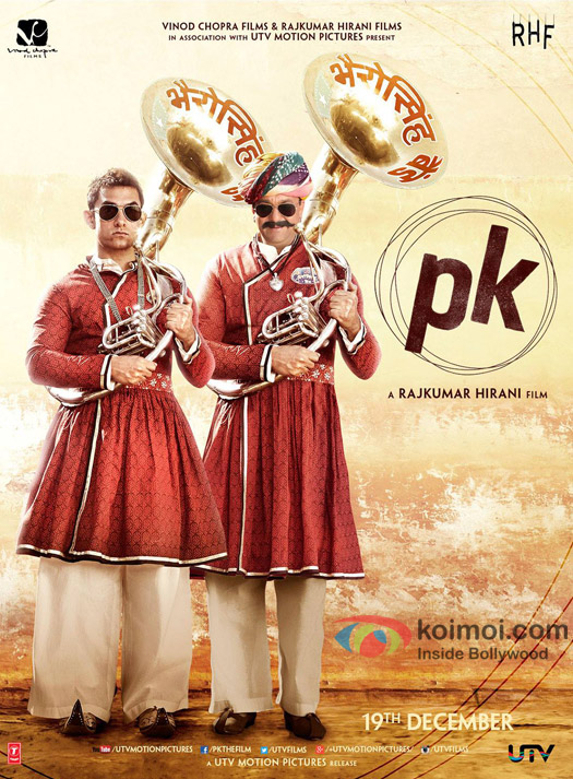 Aamir Khan and Sanjay Dutt  in a 'PK' movie poster
