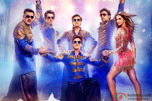 Boman Irani, Sonu Sood, Vivaan Shah, Shah Rukh Khan, Abhishek Bachchan and Deepika Padukone in a still from movie 'Happy New Year'