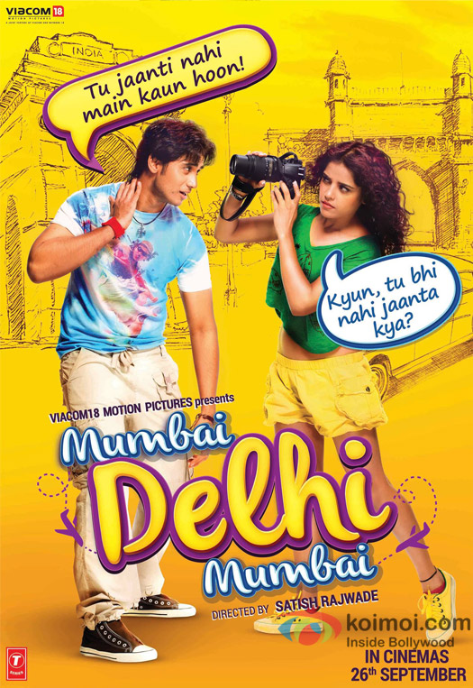 Shiv Pandit and Pia Bajpai in a 'Mumbai Delhi Mumbai' movie poster
