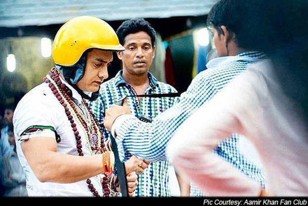Aamir Khan on the sets of 'PK'