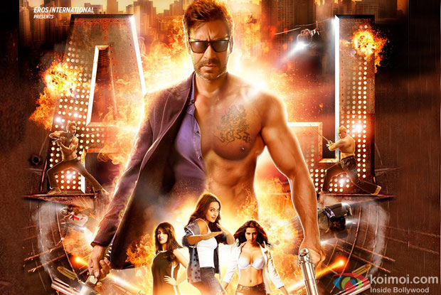 Ajay Devgn, Sonakshi Sinha and Yami Gautam in a 'Action Jackson' movie poster