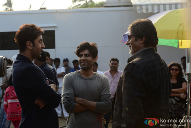 Ranbir Kapoor and Amitabh Bachchan on the sets of movie 'Bhoothnath Returns'