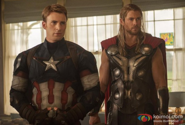 Chris Evans and Chris Hemsworth in a still from movie 'Avengers: Age of Ultron'