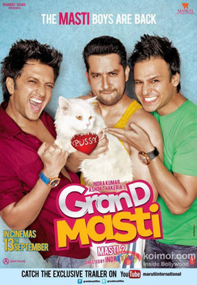 Riteish Deshmukh, Aftab Shivdasani and Vivek Oberoi in a 'Grand Masti' movie poster