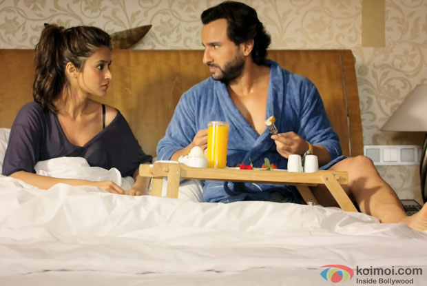 Ileana Dcruz and Saif Ali Khan in a still from movie 'Happy Ending'