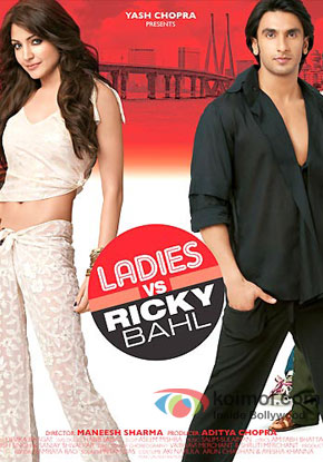Anushka Sharma and Ranveer Singh in a 'Ladies V/S Ricky Bahl' movie poster