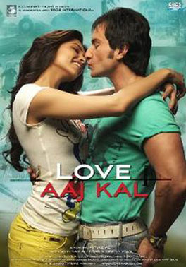 Deepika Padukone and Saif Ali Khan in a 'Love Aaj Kal' movie poster