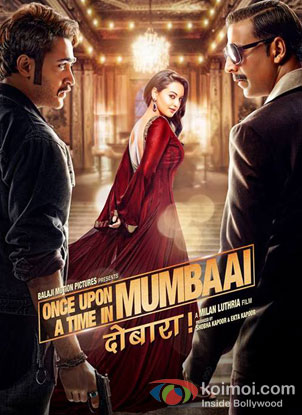 Imran Khan, Sonakshi Sinha and Akshay Kumar in a ' Once Upon a Time In Mumbai Dobaara' movie poster