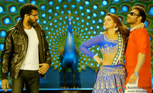 Prabhu Dheva, Sonakshi Sinha and Ajay Devgn in a still from movie 'Action Jackson'