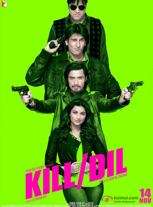 Parineeti Chopra, Ali Zafar, Ranveer Singh and Govinda in a 'Kill Dil' movie poster