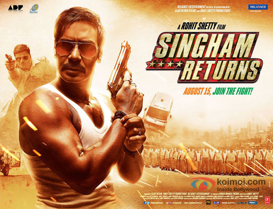 Ajay Devgn in a 'Singham Returns' movie poster