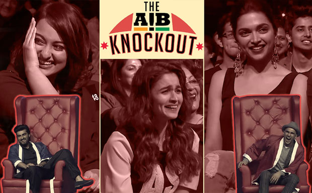 Arjun Kapoor, Sonakshi Sinha, Alia Bhatt, Deepika Padukone and Ranveer Singh in a still from 'The AIB Knockout'