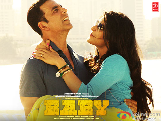 Akshay Kumar and Madhurima Tuli in a still from movie 'Baby'