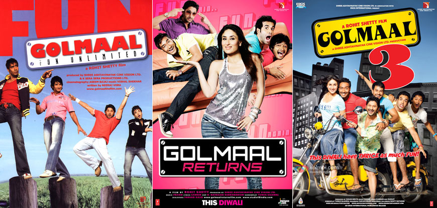 Golmaal: Fun Unlimited (2006), Golmaal Returns (2008) and Golmaal 3 (2010) Movie Posters