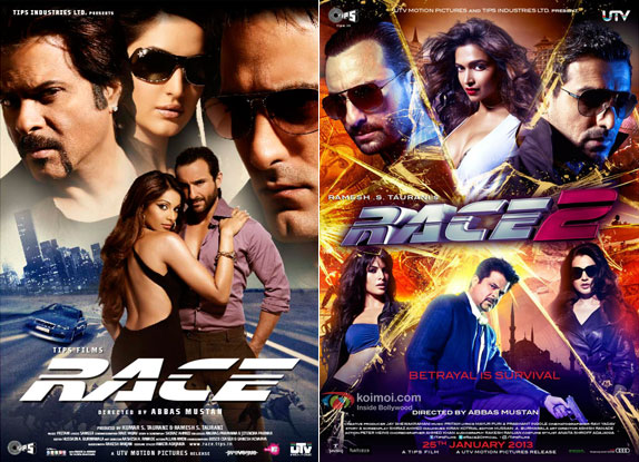 Race (2008) and Race 2 (2013) Movie Posters