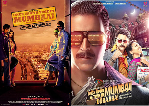 Once Upon a Time in Mumbaai (2010) and Once Upon ay Time in Mumbai Dobaara! (2013) Movie Posters