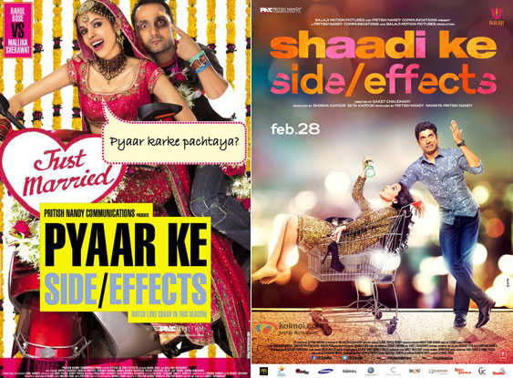 Pyaar Ke Side Effects (2006) and Shaadi Ke Side Effects (2014) Movie Posters