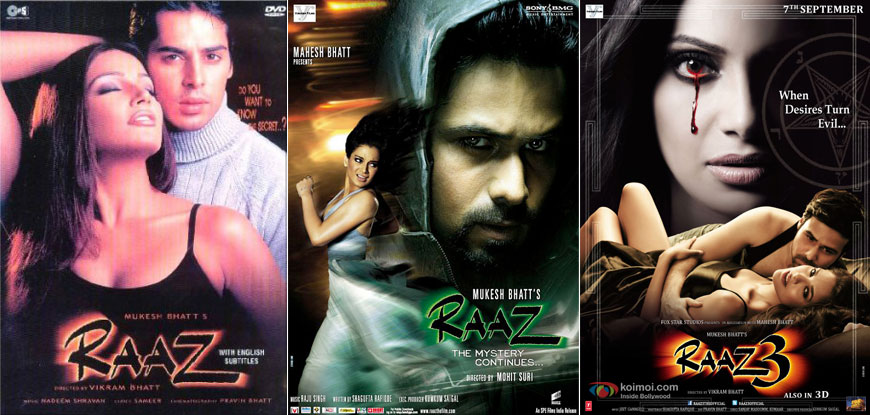 Raaz (2002), Raaz: The Mystery Continues (2009) and Raaz 3 (2012) Movie Posters