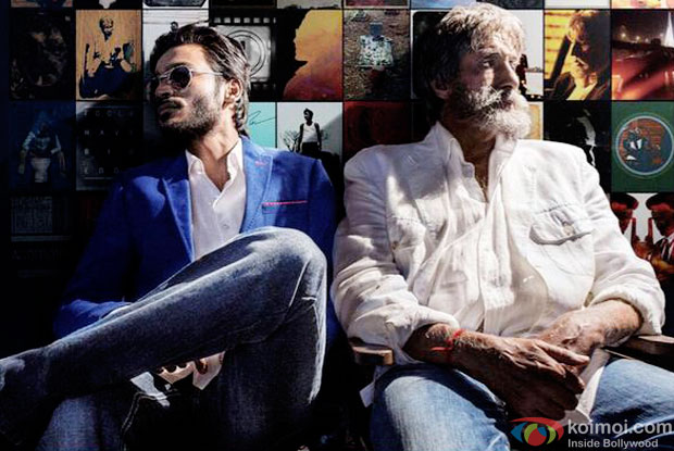 Dhanush and Amitabh Bachchan in a still from movie 'Shamitabh'