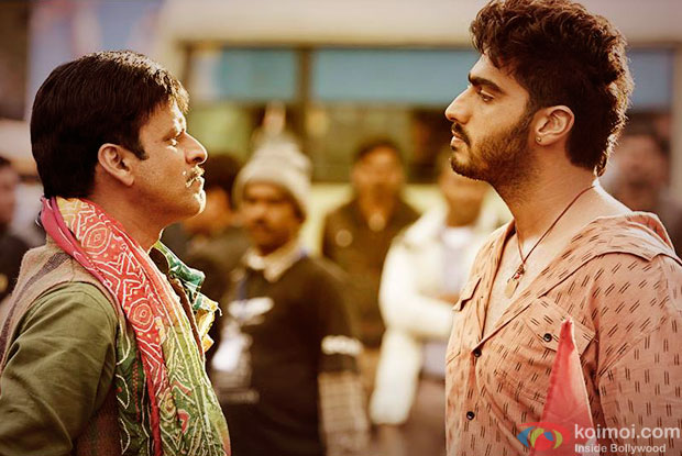Manoj Bajpai and Arjun Kapoor in a still from movie 'Tevar'