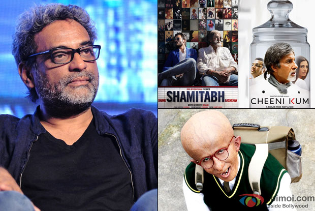 R Balki in a still with his movie posters 'Shamitabh, Cheeni Kum and Paa'