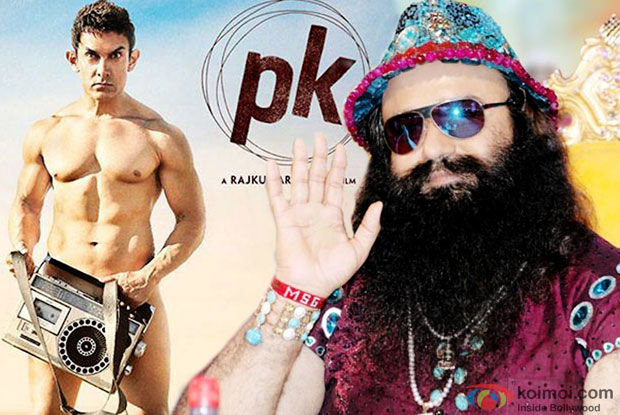 Aamir Khan in a still from 'PK' movie poster and Gurmeet Ram Rahim Singh