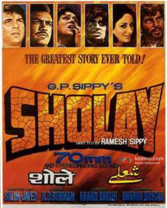 Dharmendra, Sanjeev Kumar, Hema Malini, Amitabh Bachchan, Jaya Bhaduri and Amjad Khan in a 'Sholay' movie poster