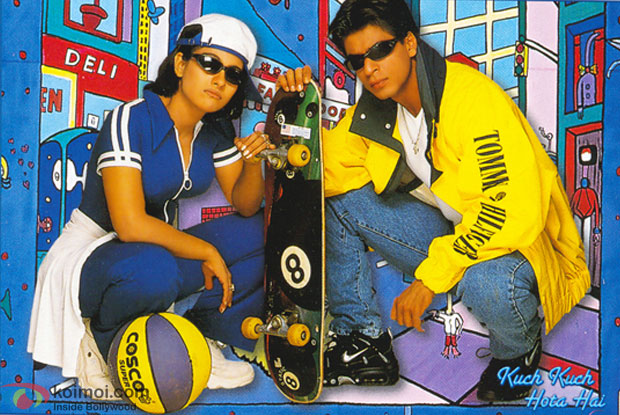 Kajol and Shah Rukh Khan in a 'Kuch Kuch Hota Hai' movie poster
