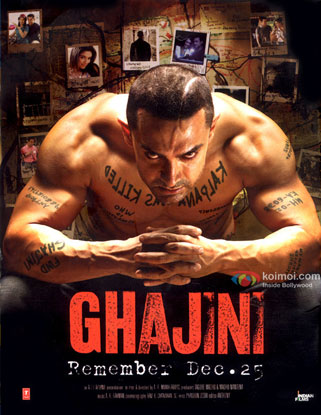 Aamir Khan in a 'Ghajini' movie poster