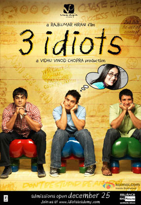 R. Madhavan, Aamir Khan, Sharman Joshi and Kareena Kapoor in a '3 Idiots' movie poster