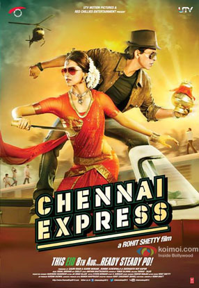 Deepika Padukone and Shah Rukh Khan in a 'Chennai Express' movie poster