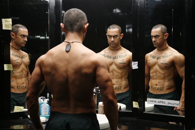Aamir Khan in a still from movie 'Ghajini (2008)'