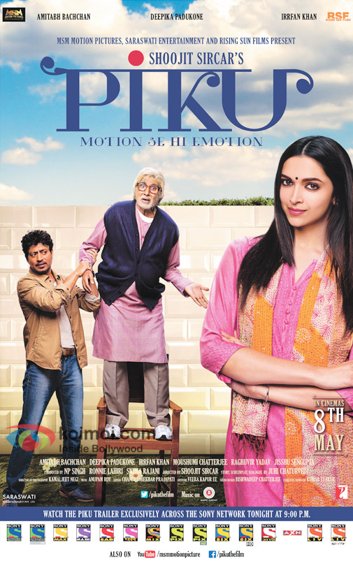 Irrfan Khan, Amitabh Bachchan and Deepika Padukone in a still from 'Piku' movie poster