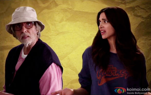 Amitabh Bachchan and Deepika Padukone in a still from movie 'Piku'