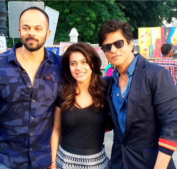 SRK Kajol Pose With Rohit Shetty On Dilwale's Sets