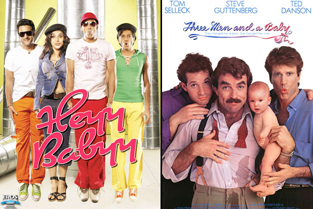 Heyy Babyy (2007) and Three Men and a Baby (1987) Movie Poster