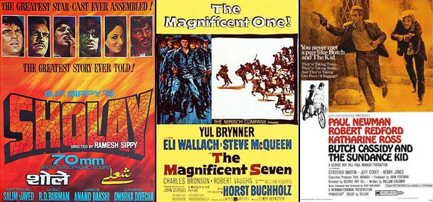 Sholay (1975), The Magnificent Seven (1960) & Butch Cassidy and the Sundance Kid (1969) Movie Poster