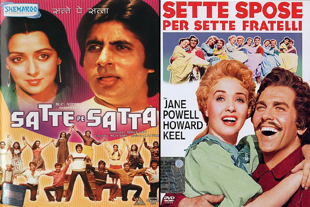 Satte Pe Satta (1982) and Seven Brides for Seven Brothers (1954) Movie Poster