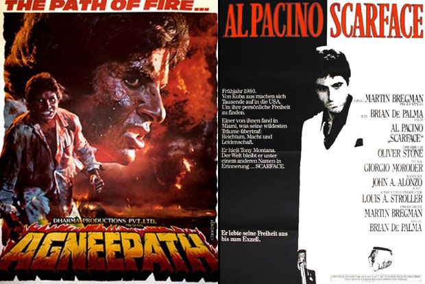 Agneepath (1990) and Scarface (1983) Movie Poster