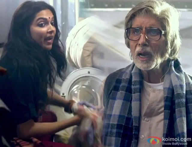 Deepika Padukone and Amitabh Bachchan in a still from movie 'Piku'